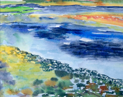 """Early Spring on the Lake"" 7.25x9.5 $100"