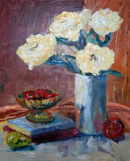 """Still Life with White Roses"" oil"