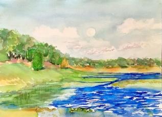 """Moonrise Over Spring Lake"" 10x14 $150"